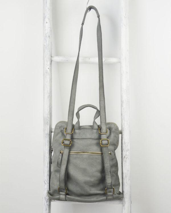 Anastasia pelle intrecciata colore grigio chiaro scala retro.