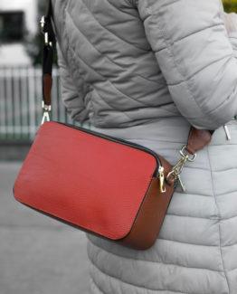 Diana borsa pelle martellata bicolore arancione nero anteprima.