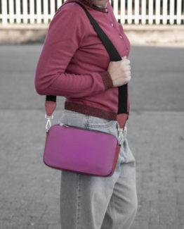 Diana borsa pelle martellata bicolore rosso fuxia tracolla.