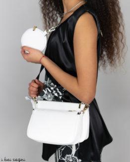Marzia borsa in pelle martellata bianca anteprima.