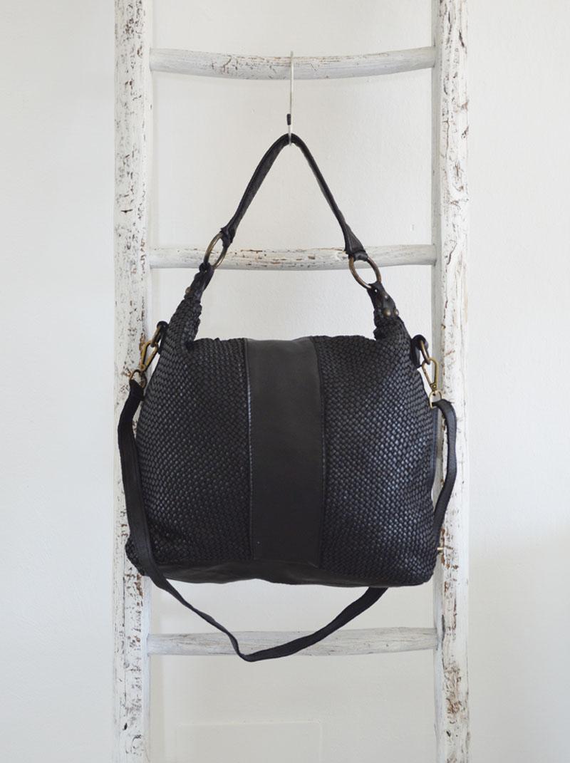 Amelia pelle vintage intrecciata colore nero anteprima.