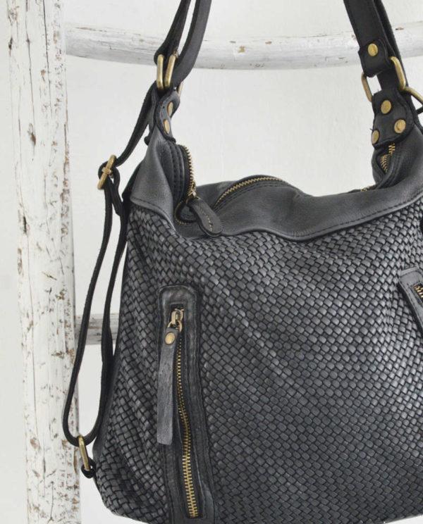 Antea borsa zaino pelle intrecciata colore nero dettaglio pelle.