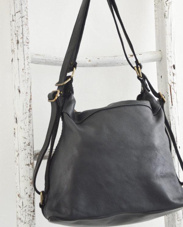 Antea borsa zaino pelle intrecciata colore nero dettaglio retro.