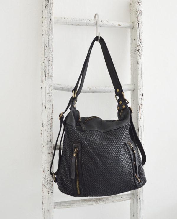 Antea borsa zaino pelle intrecciata colore nero scala.