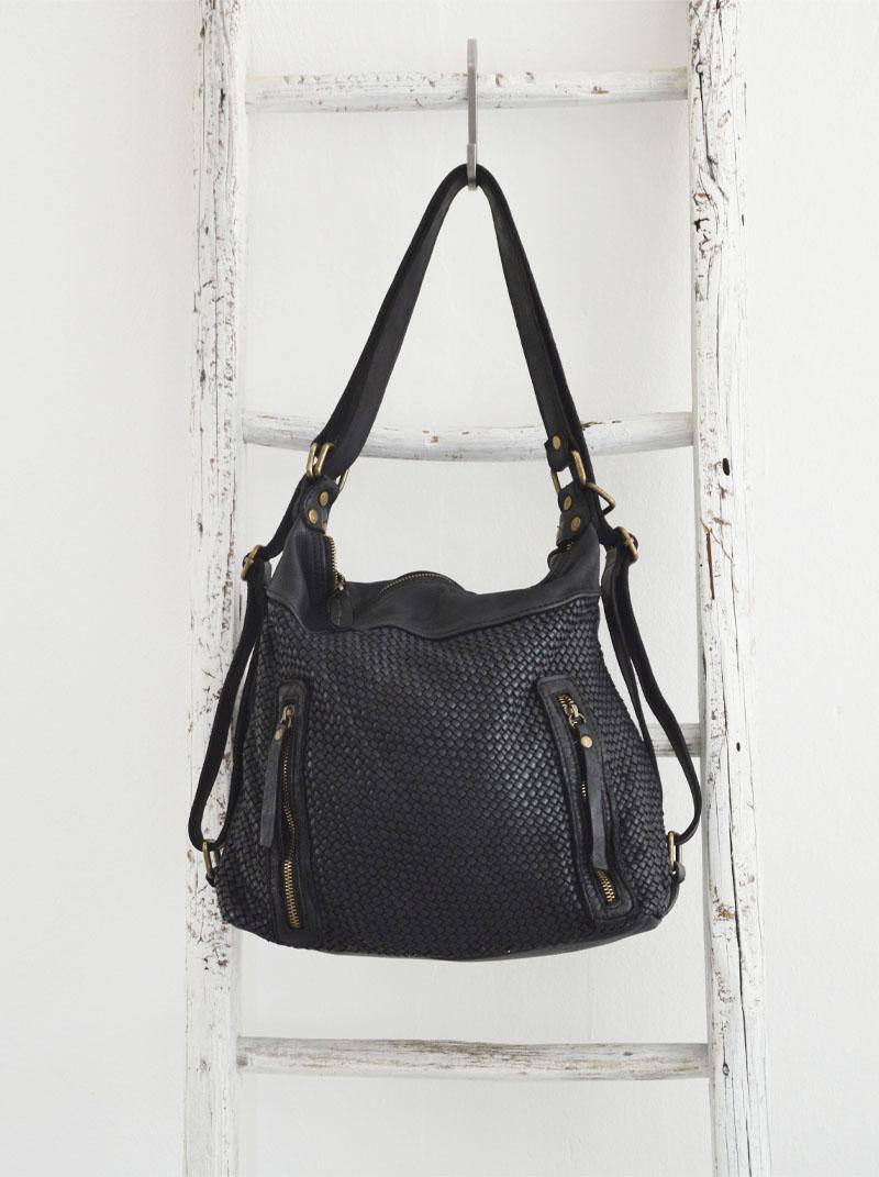 Antea borsa zaino pelle intrecciata colore nero anteprima.