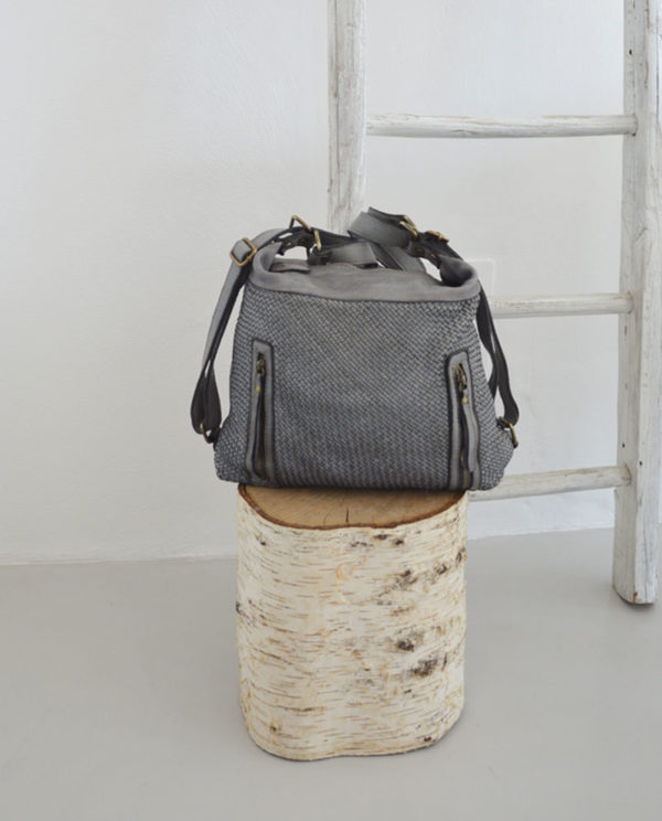Antea borsa zaino pelle intrecciata colore grigio anteprima.