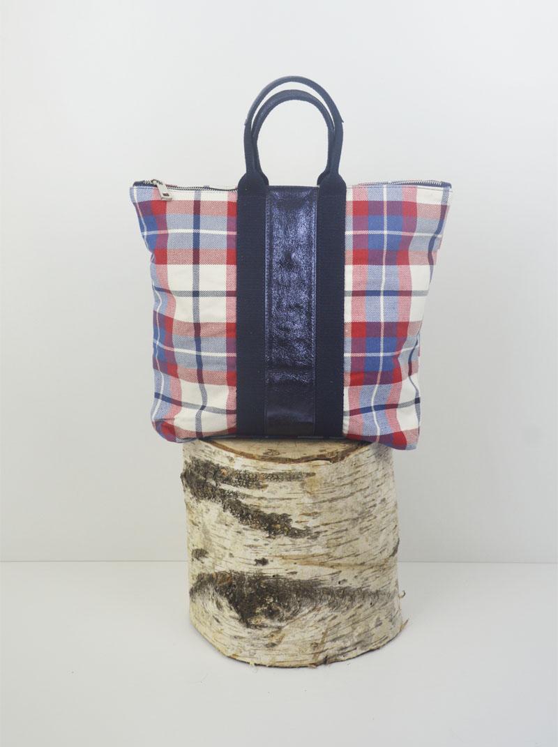 Marta cotone scozzese banda laminata blu anteprima.
