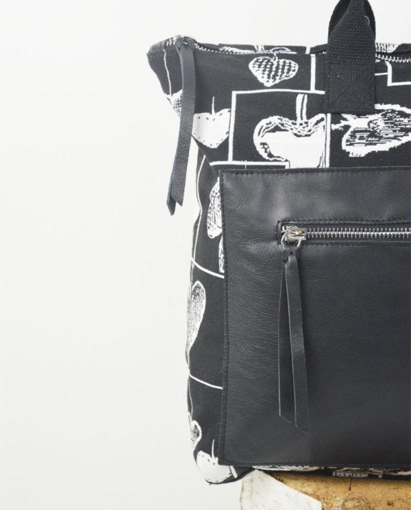 Martina cotone cuori bianchi tasca savage nera dettaglio.