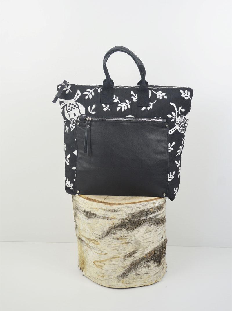 Martina cotone colore nero gufi bianchi tasca savage nera anteprima.