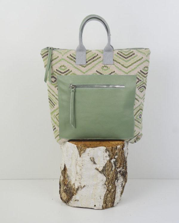 Martina cotone fantasia rombi tasca dollaro verde anteprima.