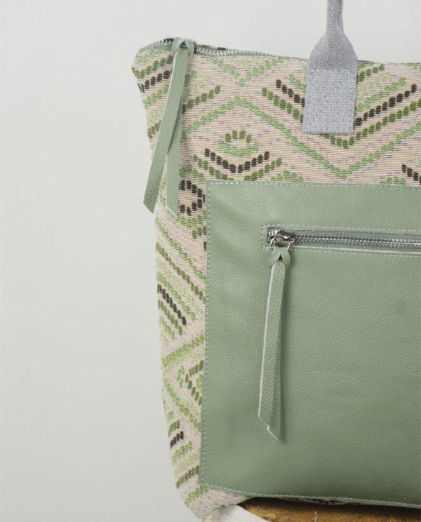 Martina cotone fantasia rombi tasca dollaro verde dettaglio.