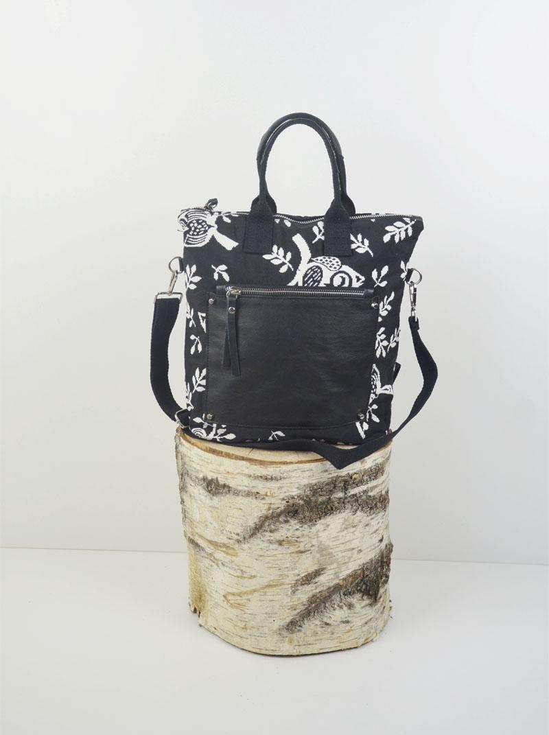 Martina xs cotone nero a gufi bianchi tasca savage nera anteprima.