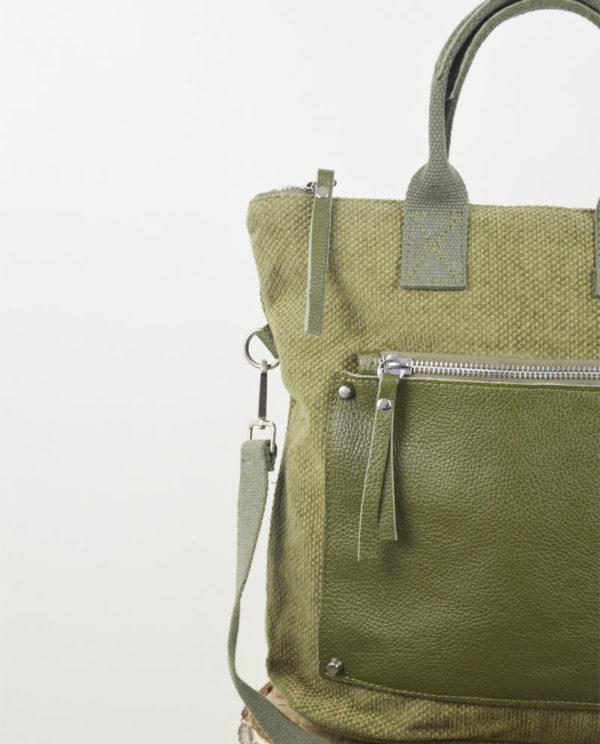 Martina Xs cotone verde tasca dollaro verde muschio dettaglio.