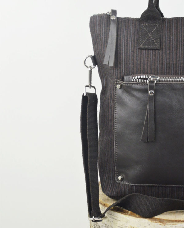 Martina xs cotone marrone righe verticali tasca savage testa di moro dettaglio.